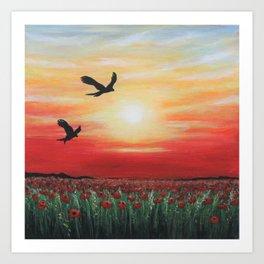 Red Kites Sunset Art Print