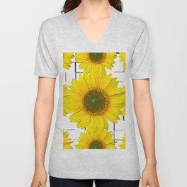 Sunflowers on a squar pattern white background #decor #society6 Unisex V-Neck