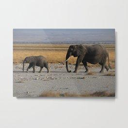 Kenia Elephants Metal Print