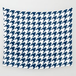 Blue, Navy: Houndstooth Checkered Pattern Wall Tapestry