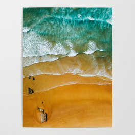 Ocean Waves Crushing On Beach, Drone Photography, Aerial Photo, Ocean Wall Art Print Decor Poster