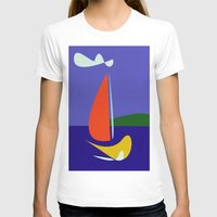 sailboat T-shirts featuring cute sailboat by laika in cosmos