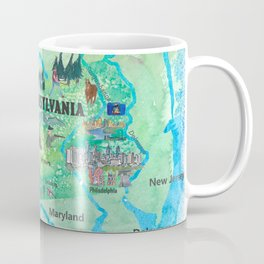 USA Pennsylvania State Travel Poster Map with Touristic Highlights Coffee Mug