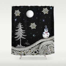 Pearly White Snow Night, Scanography Shower Curtain