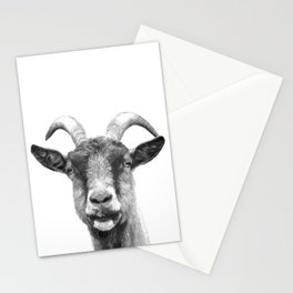 Black and White Goat Stationery Cards