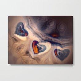 Hearts in smoke. Metal Print