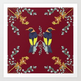 2941 Bower-Bird-1-20-Burgundy Art Print