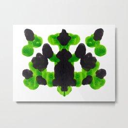 Lime Green Ink Blot Organic Pattern Metal Print