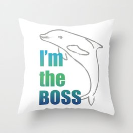 Bussiness dolphin Throw Pillow