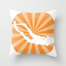 Apnea Retro Freediving Gifts For Apnea Freedivers Throw Pillow