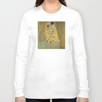 klimt Long Sleeve T-shirts featuring The Kiss - Gustav Klimt by Elegant Chaos Gallery