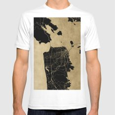 San Francisco California Black and Gold Map MEDIUM Mens Fitted Tee White