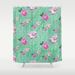 Blossom Willow Flower Pattern Turquoise & Pink Shower Curtain