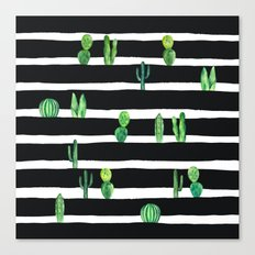 Green cactus Abstract art Black and white stripes Modern illustration Plants Canvas Print