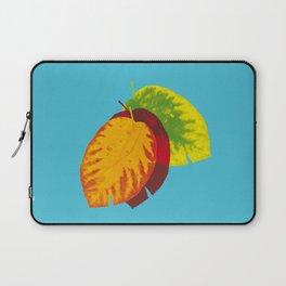 Falling leaves on blue Laptop Sleeve