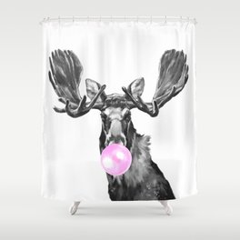 Bubble Gum Moose in Black and White Shower Curtain