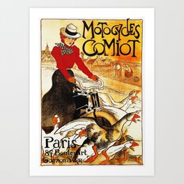 Vintage Comiot Motorcycle Ad - Paris Art Print