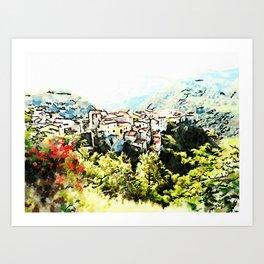 Tortora view with red flower Art Print