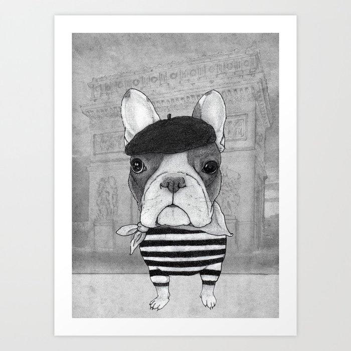 French Bulldog. (black and white version) Art Print