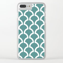 Classic Fan or Scallop Pattern 473 Teal Green Clear iPhone Case
