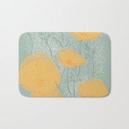 California Poppies in Gray Bath Mat