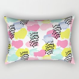 Bright happy painted pattern nursery baby gifts black and white spring summer home decor Rectangular Pillow