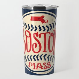 Hand Drawn Baseball for Boston with custom Lettering Travel Mug