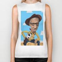 woody allen Biker Tanks featuring Woody Allen by Joshua Ang