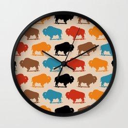 Colorful Buffalo Bison Pattern 278 Wall Clock