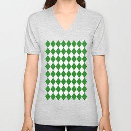 Rhombus (Forest Green/White) Unisex V-Neck