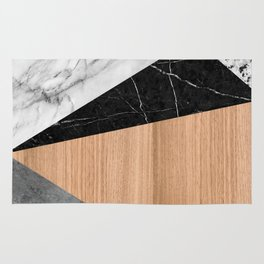 Marble, Garnite, Teak Wood Abstract Rug