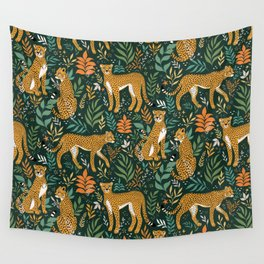 Spring Cheetah Pattern II - Lush Green Wall Tapestry
