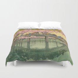 Kameido Bridge Hiroshi Yoshida Vintage Japanese Woodblock Print Duvet Cover
