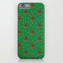 Green Folk Christmas Tree iPhone Case