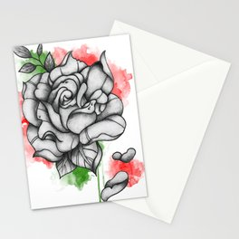 Colored Rose Splash Stationery Cards