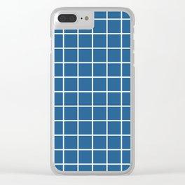 Minimalism Window Pane Grid, White on Blue Clear iPhone Case