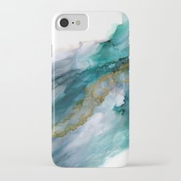 Wild Rush - abstract ocean theme in teal gray gold, marble pattern iPhone Case
