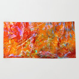 Abstract with Circle in Gold, Red, and Blue Beach Towel