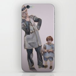 Watercolor Painting of a Smoking Lady with Child iPhone Skin