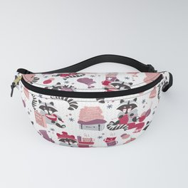 Hygge raccoon // white background Fanny Pack
