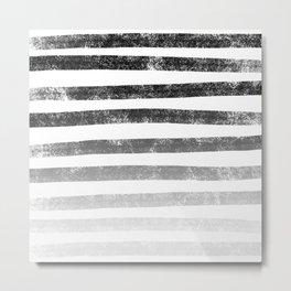 Thick Ombre Stripes (black/white) Metal Print