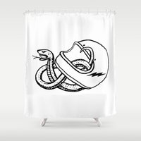 grease Shower Curtains featuring vipera b/w by The Junkers