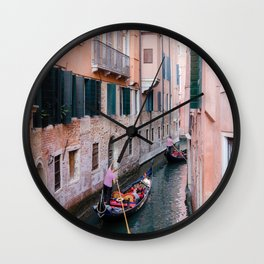 Venice Gondola Rides in Pink Wall Clock