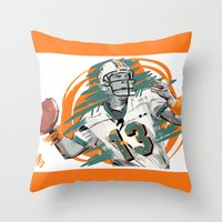 nfl Throw Pillows featuring NFL Legends: Dan Marino - Miami Dolphins by Akyanyme