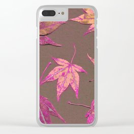Japanese maple leaves - neon pink on khaki Clear iPhone Case