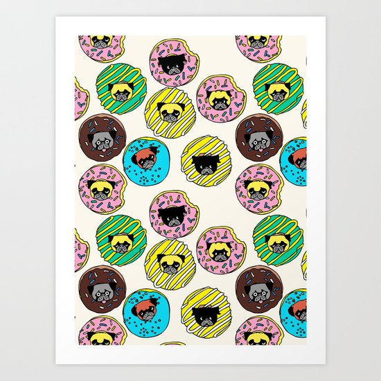 Pug Donuts Art Print