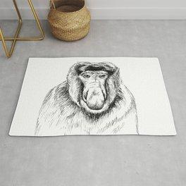 Proboscis Monkey Drawing Rug