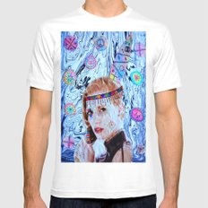 Tribal Peace White Mens Fitted Tee MEDIUM