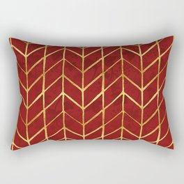 Gold Foil Herringbone on Dark Red Ivy Watercolor Pattern Rectangular Pillow