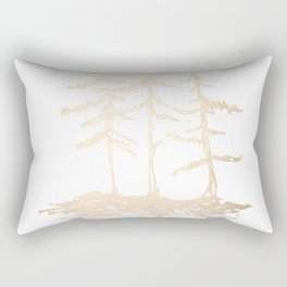 Three Sisters Forest White Gold Trees Rectangular Pillow